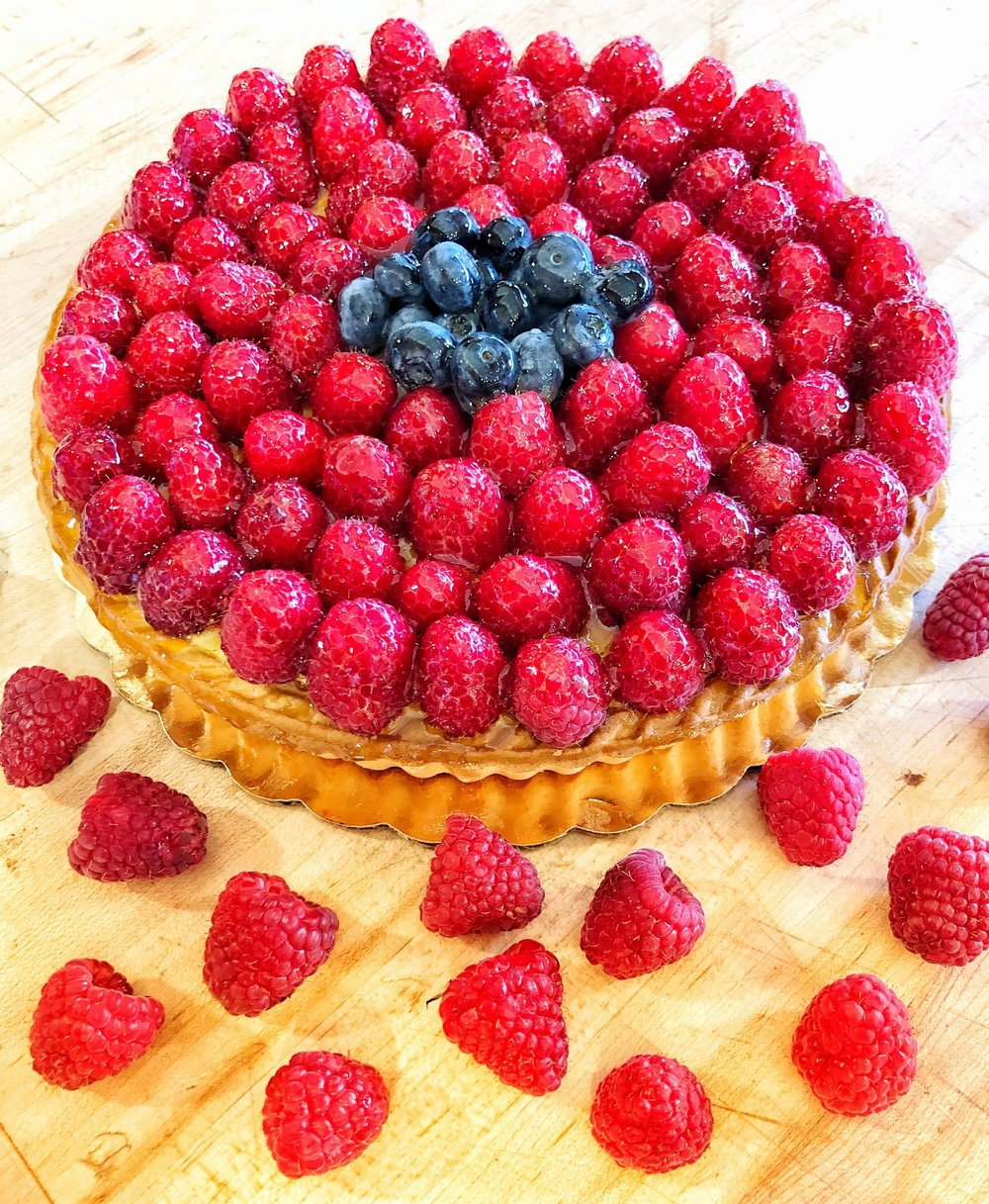 Raspberry cheese cake tart handmade by our baker
