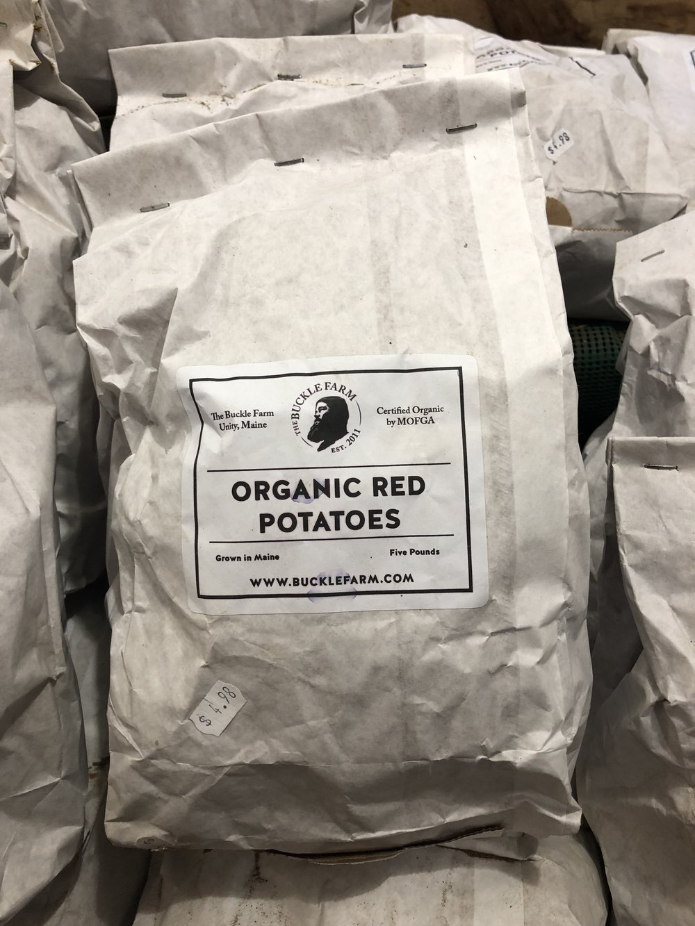 Organic local potatoes only $4.98 per bag at Russo's.