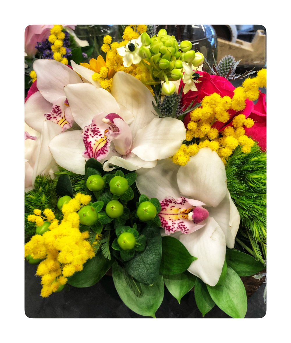 Orchid bouquet with Mimosa Flowers which are the symbol for International Women's Day on March 8.