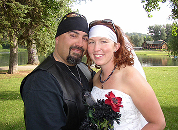 Bride and groom at Canyon Lake Park in Rapid City