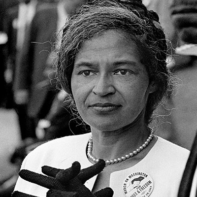 "Rosa Parks , the ""Mother of the Civil Rights Movement"" was one of the most important citizens of the 20th century. Mrs. Parks was a seamstress in Montgomery, Alabama when, in December 1955, she refused to give up her seat on a city bus to a white passenger. The bus driver had her arrested. Her act sparked a citywide boycott of the bus system by African Americans that lasted more than a year. The boycott raised an unknown clergyman, Dr. Martin Luther King Jr. to national prominence. Mrs. Parks' example remains ""an inspiration to freedom-loving people everywhere."""
