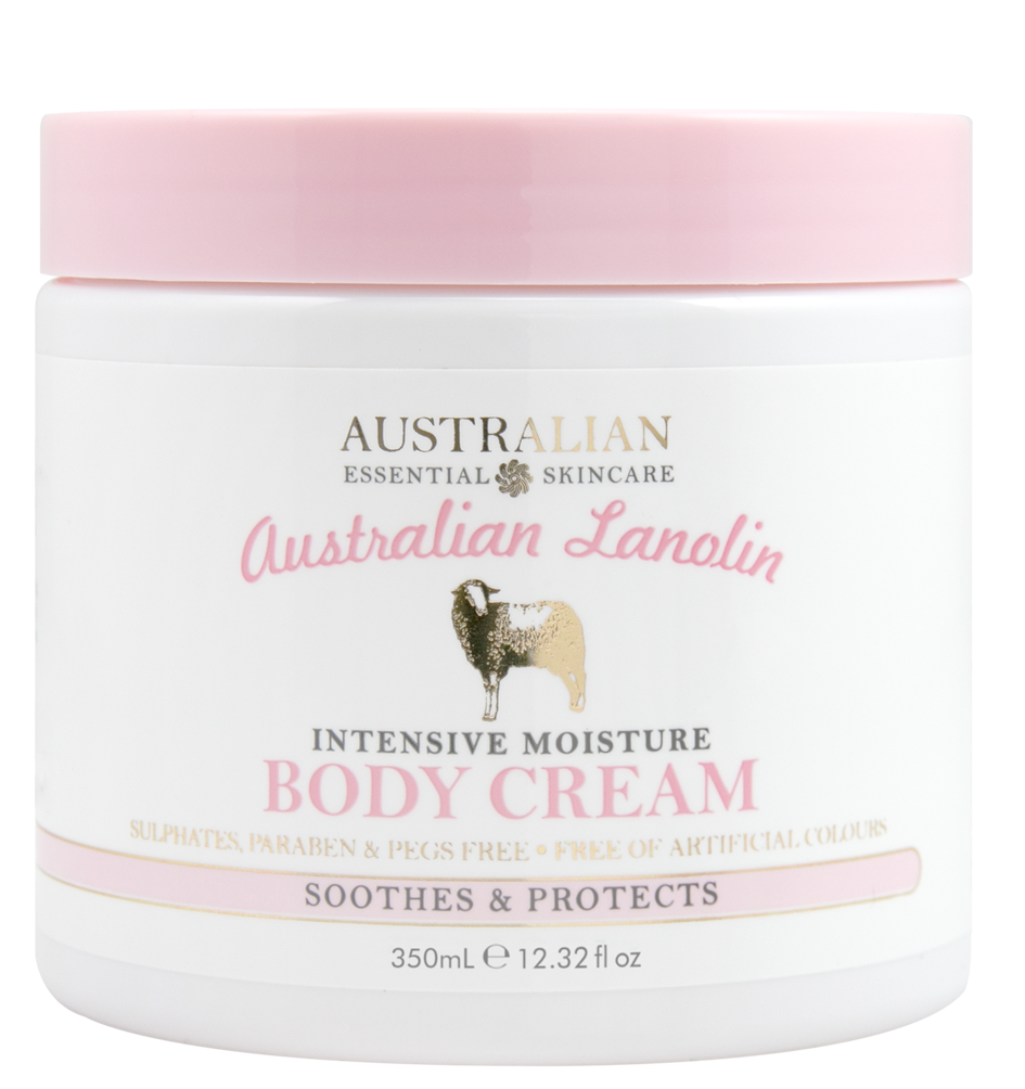AUSTRALIAN LANOLININTENSIVE MOISTUREBODY CREAM - • Australian Product• High Quality Lanolin Oil• Sulphate, Paraben & PEG Free• No Added Glycols• Free of Artificial Colours• Soothes & protects dry skin• Improves skin's softness & suppleness• Provides lasting hydrationLanolin creates a coating effect that prevents moisture from escaping, while allowing the skin to breathe. This retains skin's natural hydration and improves softness and suppleness.Lanolin is easily absorbed into the skin, which allows it to help repair barrier function and increase skin moisture.