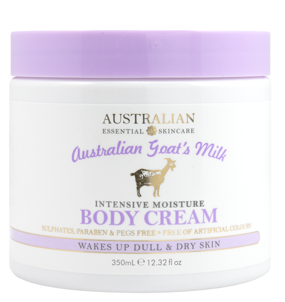 AUSTRALIAN GOAT'S MILKINTENSIVE MOISTUREBODY CREAM - • Australian Product• Sulphate, Paraben & PEG Free• No Added Glycols• Free of Artificial Colours• Wakes up dull & dry skin• Unveils smooth, glowing skin• Premium moisturising propertiesGoat's milk naturally contains concentratedlevels of AHA's which naturally exfoliate deadskin cells revealing a brighter skin tone and smoother appearance.Goat's milk also has unique nourishing properties and helps to rejuvenate skin from deep inside, adding elasticity and retaining skin moisture.