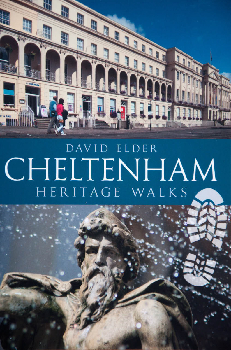 "Published in 2014 by  Amberley , and also available via  Amazon .  Also available as an e-book.    Review   ""Beautifully illustrated with high quality photographs, clearly and succinctly laid out, with short introductory boxes at the beginning of each walk which provide advice on parking, eating and drinking and even where to stay for visitors to Cheltenham, the book is a complete delight. There are nine walks altogether, each on a theme, and each packed with intriguing facts and figures. Helpful maps accompany each walk, and most of them offer a shortened version for anyone with limited time or stamina. The best way to discover anywhere is always on foot, and these walks provide an ideal way to find out about Cheltenham's rich cultural and historical heritage. Locals, visitors and even armchair travellers will find much to entertain, inform and enlighten here, and David Elder's thorough and painstaking research has resulted in a book that will be a lasting joy to all its readers."" -  Newsletter (Friends of Cheltenham Art Gallery & Museum)"