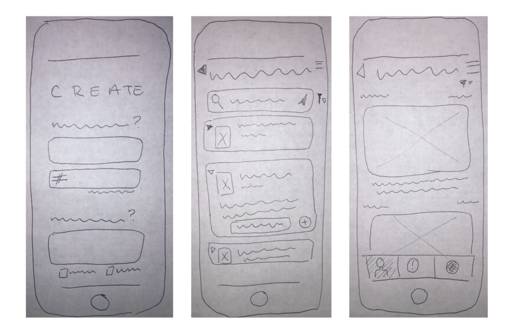 Low fidelity wireframes of creating a game, finding a game, and photo feed