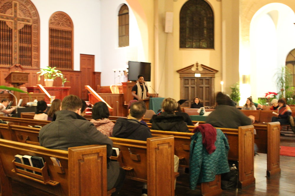 The United Church of Rogers Park held a rally Wednesday for United Methodist church members to come from all over Chicago's North Side.  UCRP member Edvette Jones speaking