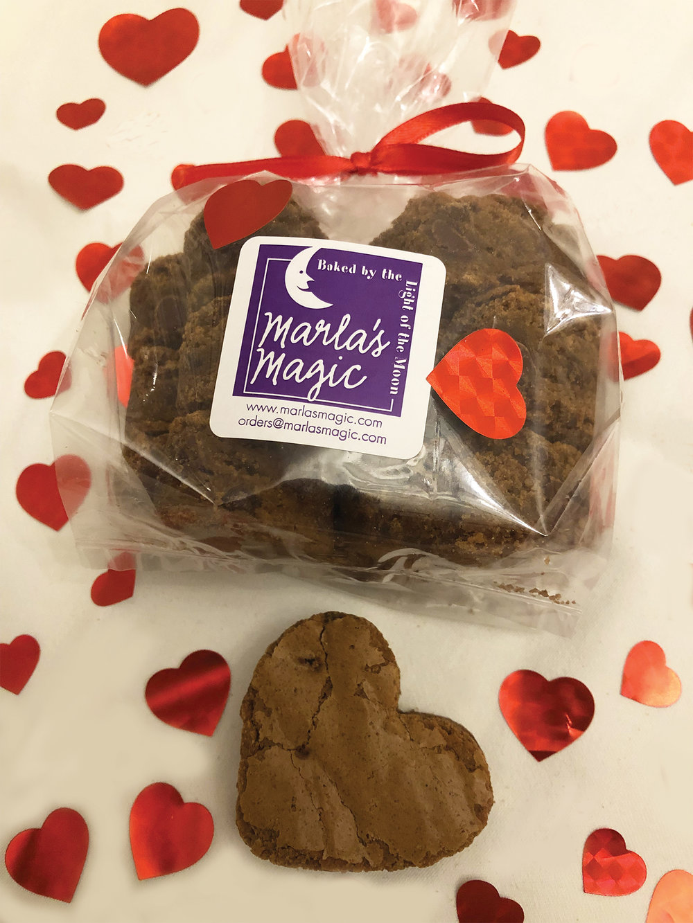 HEART SHAPED BROWNIES  For more information: orders@marlasmagic.com