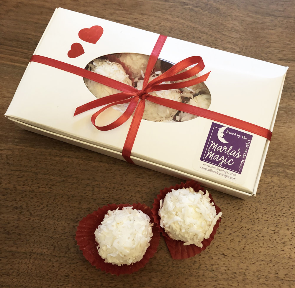 COCONUT CAKE TRUFFLES  For more information: orders@marlasmagic.com