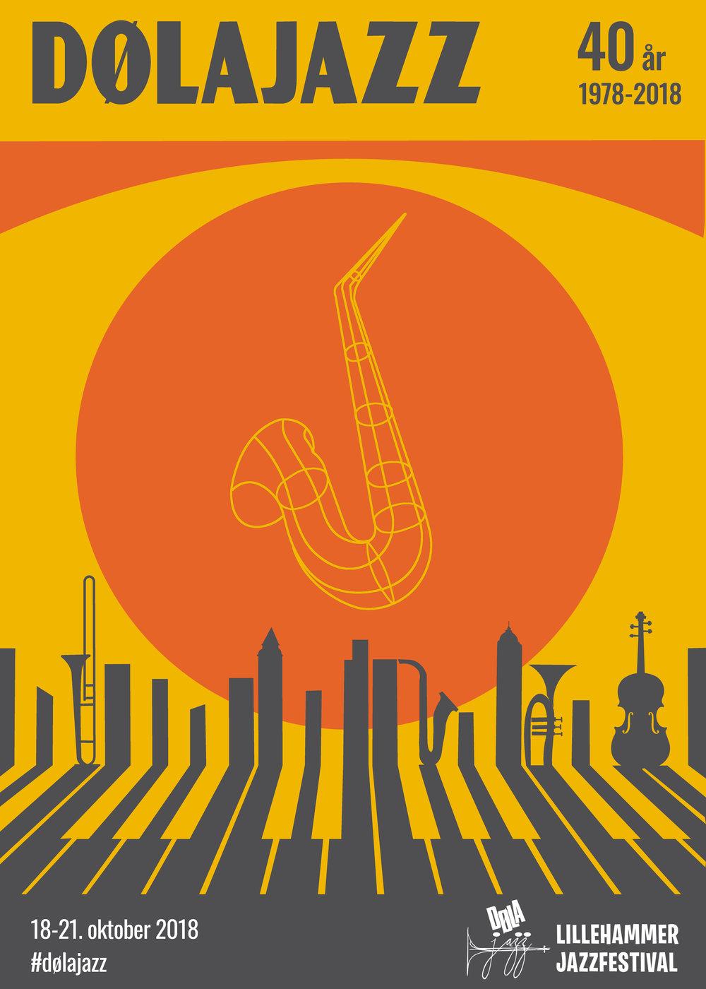 Dølajazz 2018 - den offisielle festivalplakaten. Utformet av Frakat