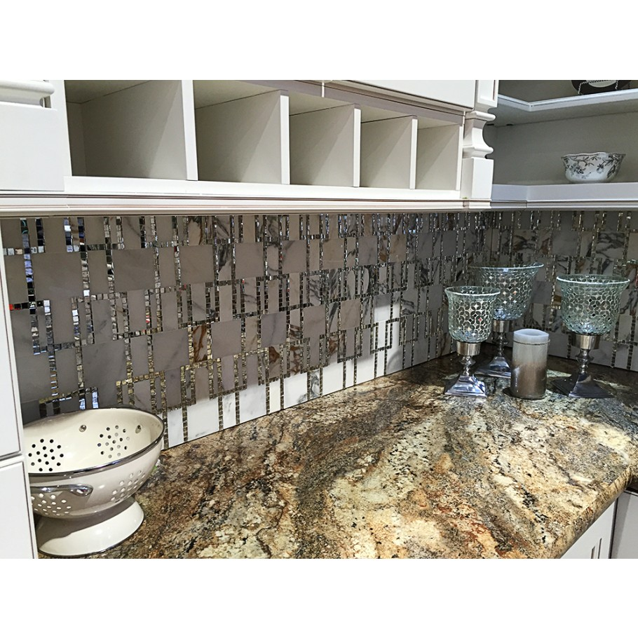 Mrable tile with mosaic mirror inlay from $29.99/sq ft