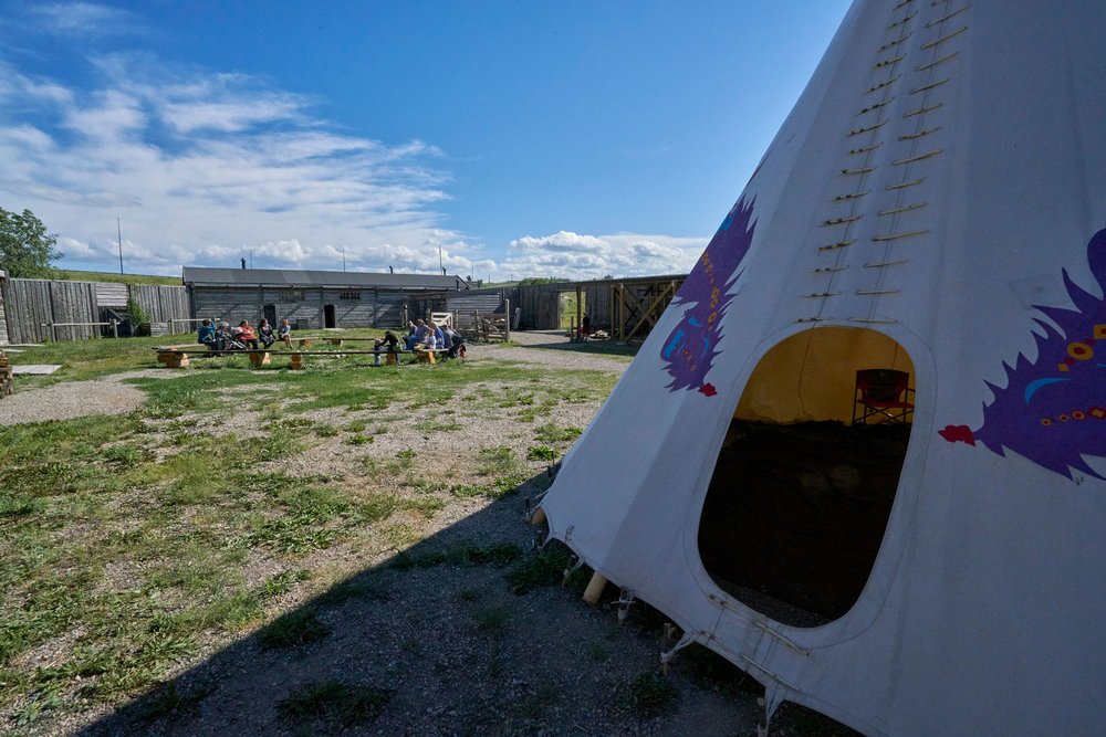 The entrance to the tepee set up in the courtyard of Fort Whoop-Up