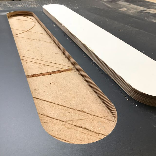 We have been cutting lots of laminated Birch Plywood today,  21 deals with cut outs for cable entry. It's heavy stuff!  #cncrouter #cncmachining #woodworking #furnituremaking #designerfurniture #madeinsheffield #cuthousecnc