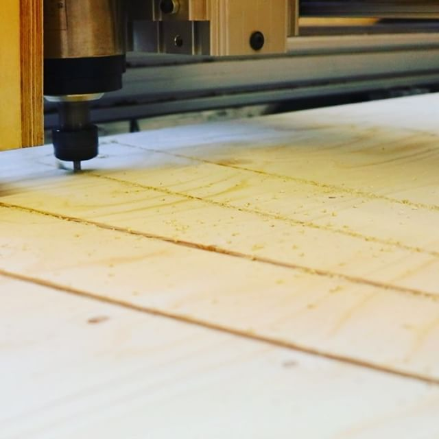 We are powering through the WISA plywood stockpile today, cutting a batch of plywood office desks for @ollieallen and they are looking great. . Send us an email for all your cutting needs! . #plywood #wisaply #plyfurniture #furniture #digitalmanufacturing #maker #woodwork #cnc #cncrouter #opendesk #onesheettable #rocklerplywoodchallenge #cuthousecnc
