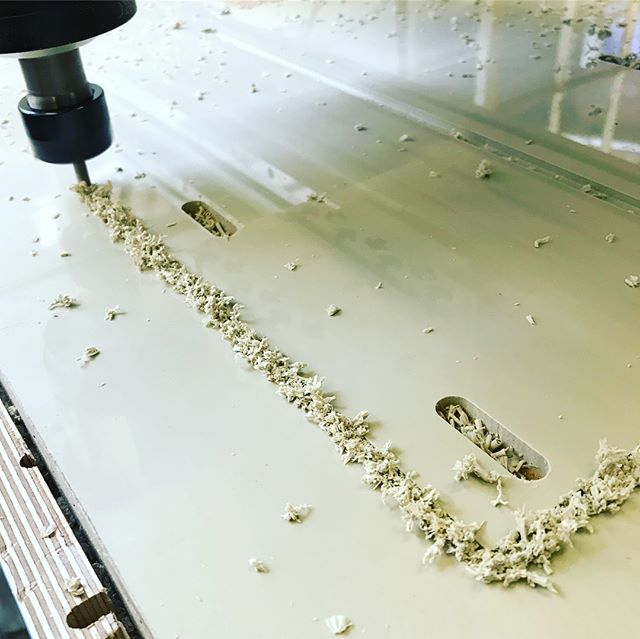 We have been cutting some interesting materials recently - Take this Polystone.... it machined really well, very quietly but looks outrageous before you sweep the chips and Swarf away! It's a plastic product which melts together but the finished result is a super smooth edge! #cnc #customcutting #plywood #polystone #cncmachine #digitalmanufacturing #cncrouter #madeinsheffield #cncfurniture #cuthousecnc