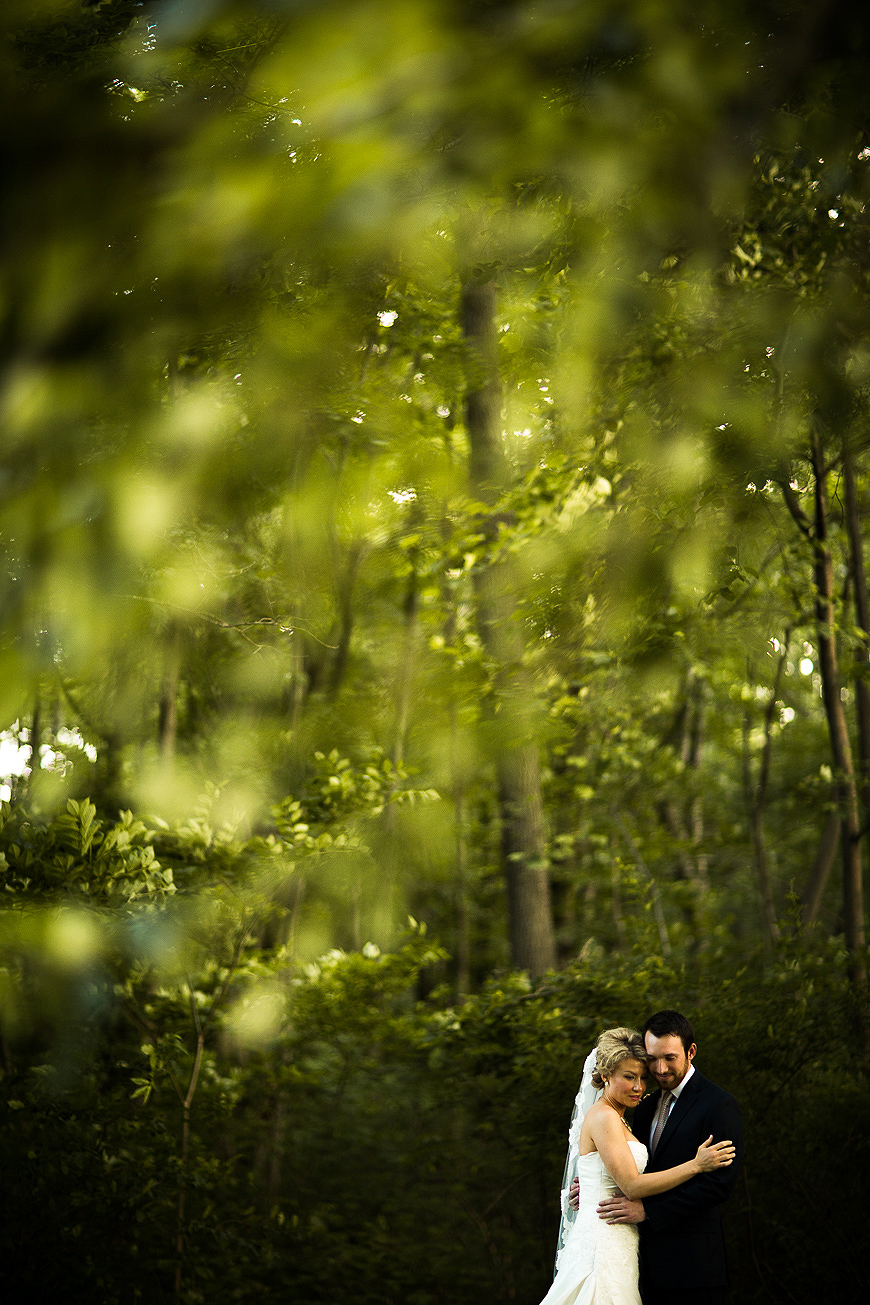 Wedding portrait surrounded by greenery
