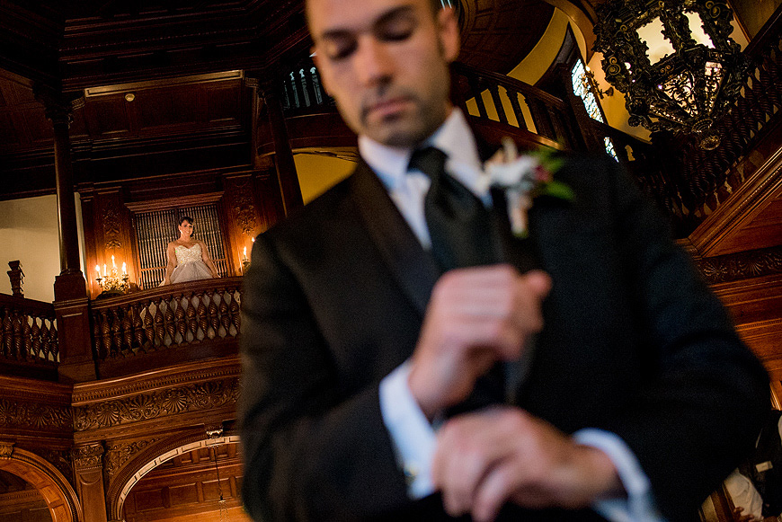 Groom awaiting the first glimpse of his bride at the Baltimore Engineers Club