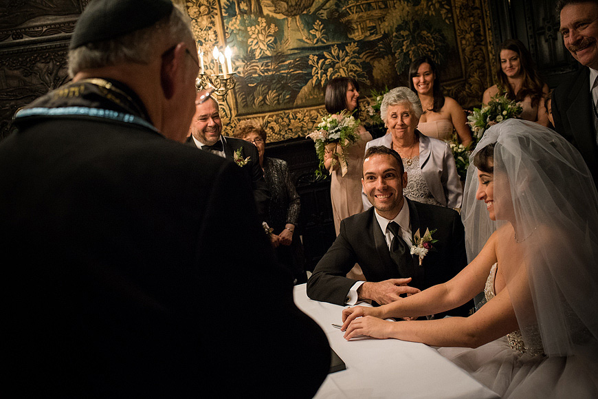 Bride and groom during Jewish wedding ceremony at the Engineers Club in Mount Vernon, Baltimore, Maryland
