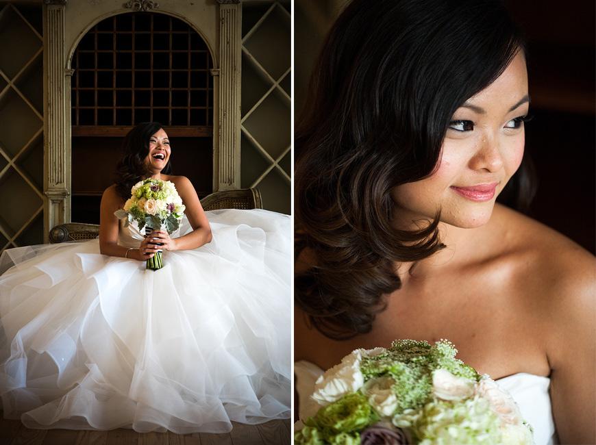 Bridal portraits in natural light at Morais Vineyards