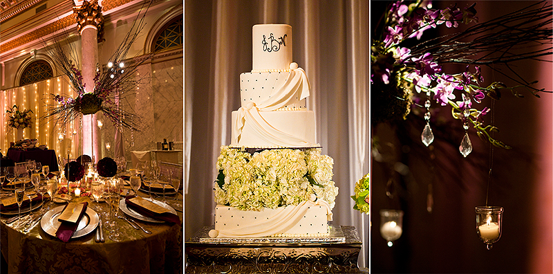 Beautiful detail shots of table settings, cake, and floral arrangements at wedding in the Baltimore Grand Venue