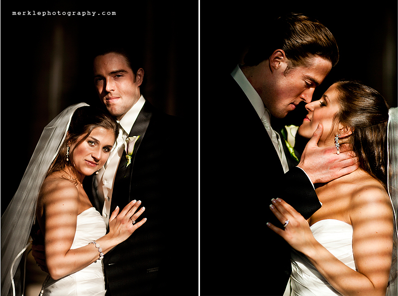 Shadows fall across a newly-married couple at the Baltimore Grand Venue on their wedding day