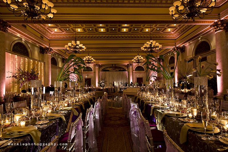 Elegant wedding reception room decorations, Baltimore Grand