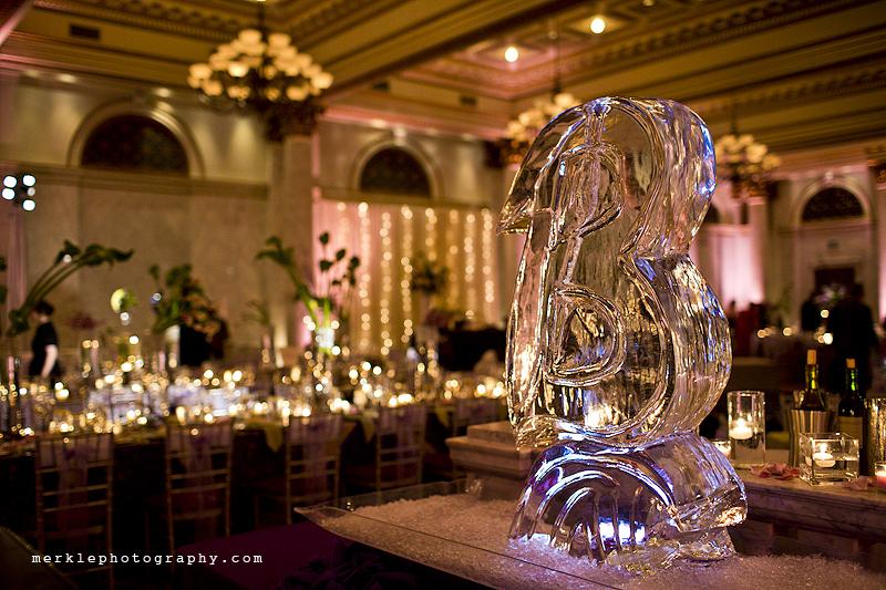 Baltimore Ravens ice sculpture at wedding reception