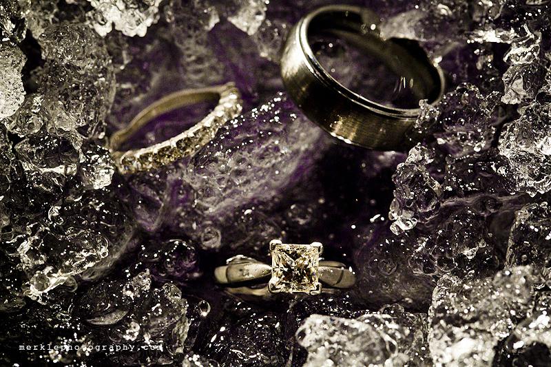 Wedding rings on ice