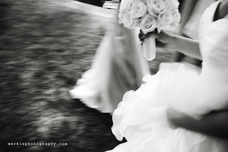 Bride in motion in black and white