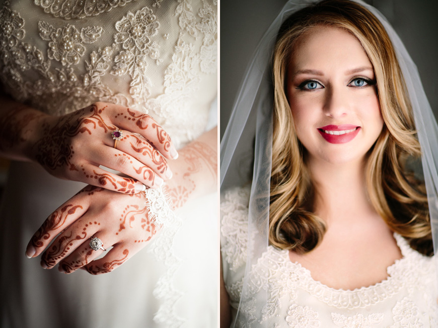Bride with beautiful patterns in henna on her hands and a natural light portrait of bride at the Belvedere Hotel Baltimore