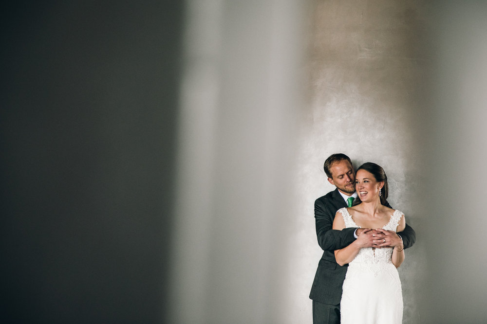 Portrait of bride and groom during wedding at the Belvedere Hotel in Baltimore Maryland