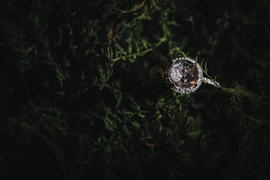 Engagement ring in a bed of moss