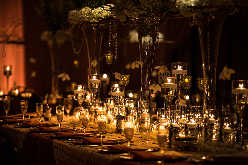 Candles are lit on the reception tables at the Renaissance Hotel in Washington DC