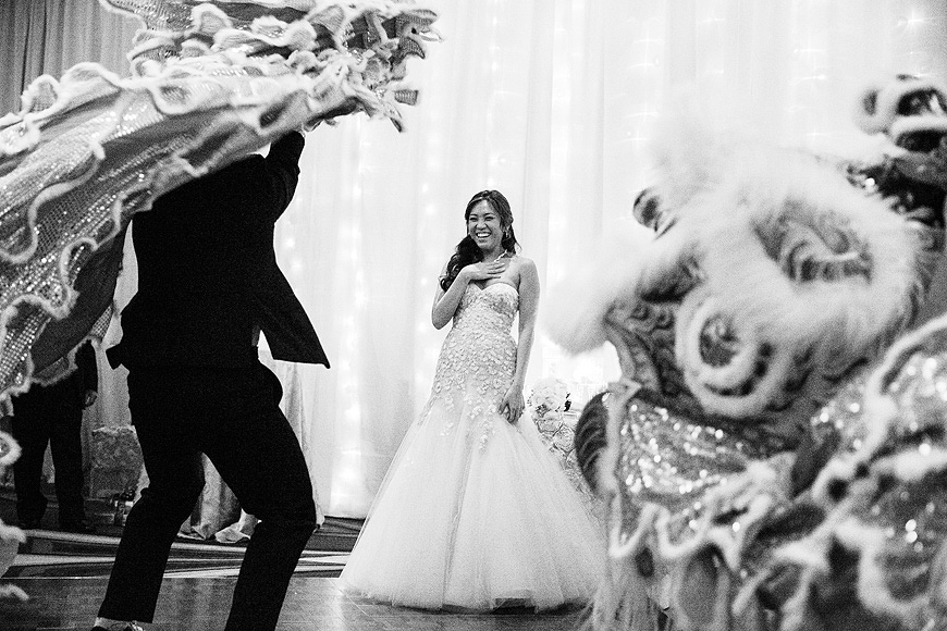 Chinese Lion and Dragon Dancers at Washington DC wedding