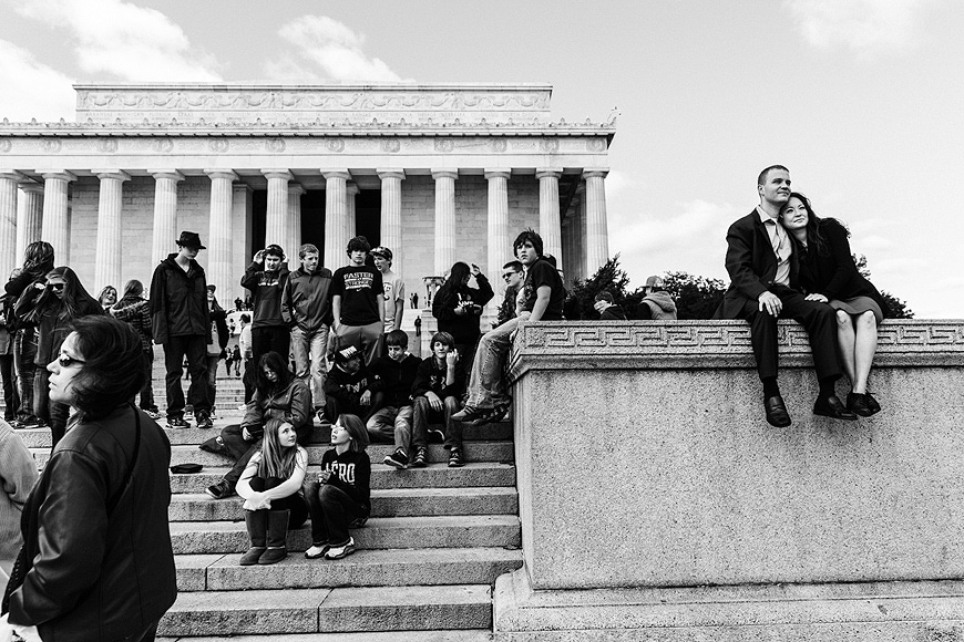 Couple on the Lincoln Memorial, Washington DC Engagement Session