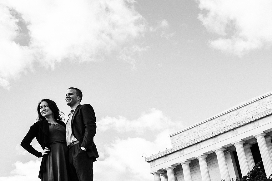 Couple at the Lincoln Memorial, Best Washington DC Engagement Photographer