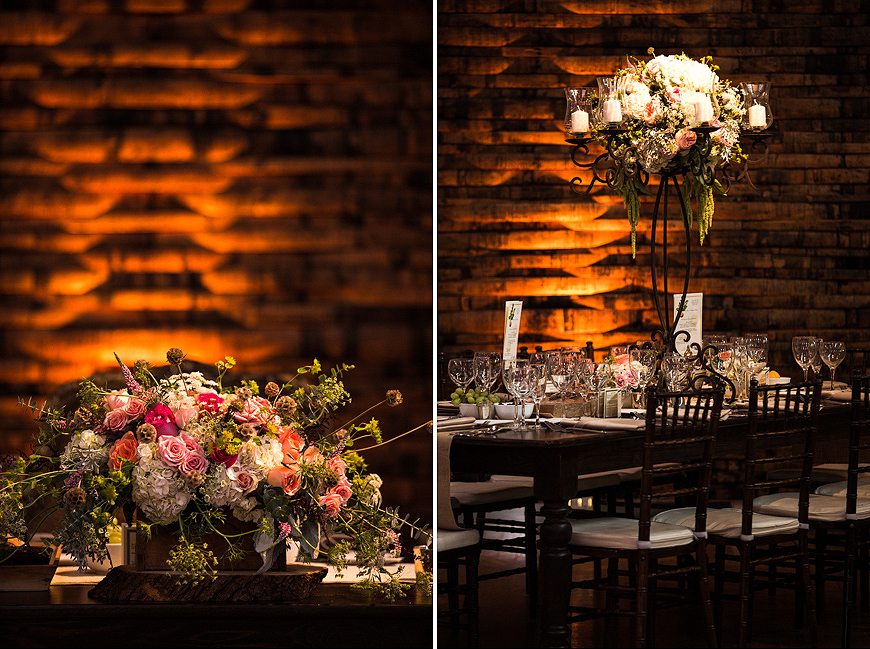 Beautiful flower arrangements at wedding in the American Visionary Arts Museum in Baltimore Maryland