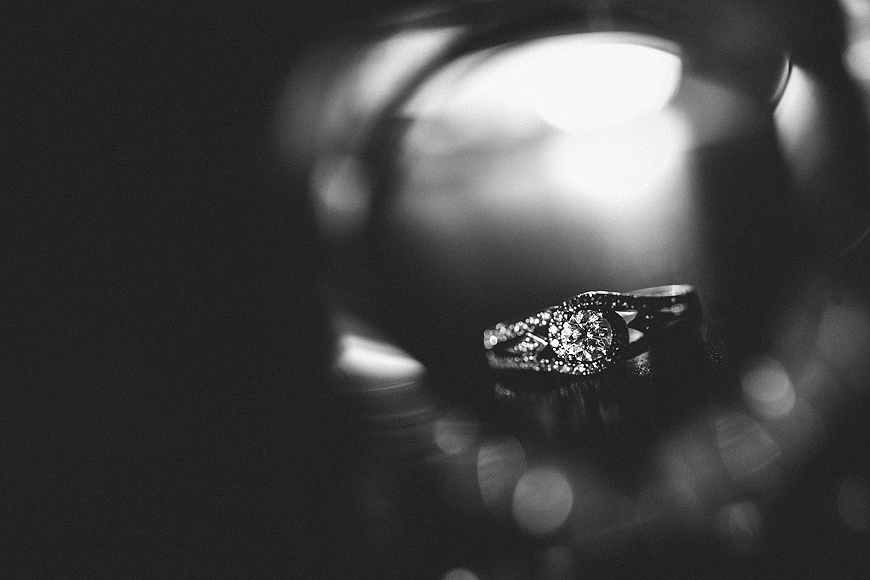 Interesting engagement ring in black and white