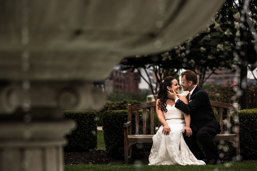 Bride and groom posing at the Ritz Carlton in Baltimore