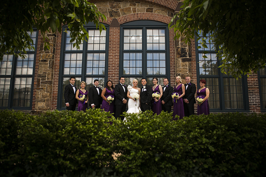 Wedding party outside of the Phoenixville Foundry in Pennsylvania