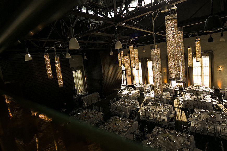 Wedding reception decor at the Phoenixville Foundry