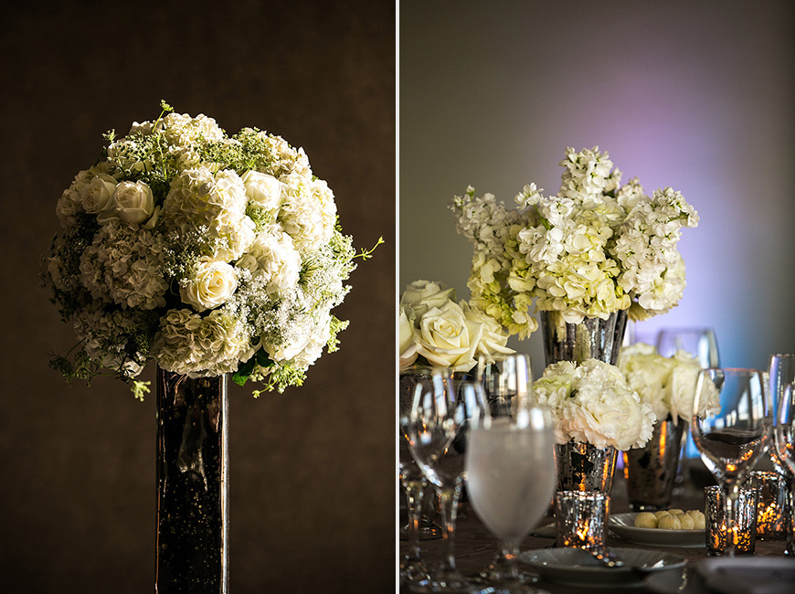 White floral arrangements in natural light at Baltimore Four Seasons wedding