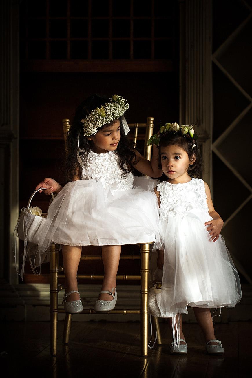 Flower girls in natural light at Morais Vineyards wedding
