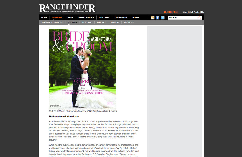 Washingtonian Bride and Groom Cover featuring couple photographed by Merkle Photography