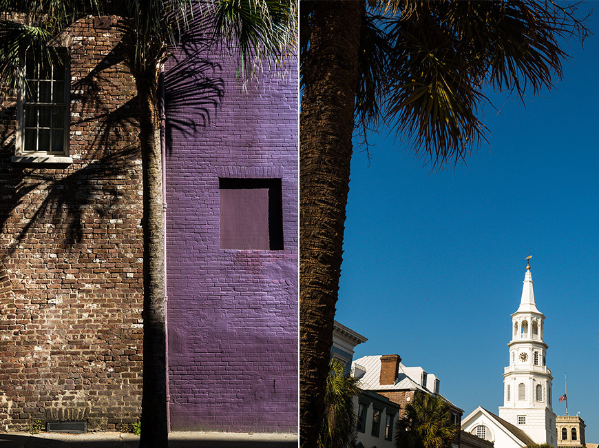 Color and shadows from palm trees in downtown historic Charleston South Carolina