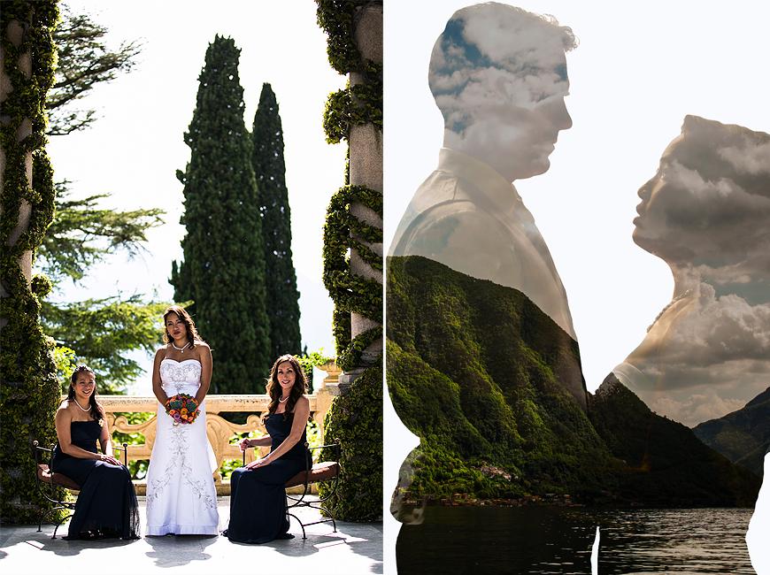 Posing at Lake Como Italy wedding