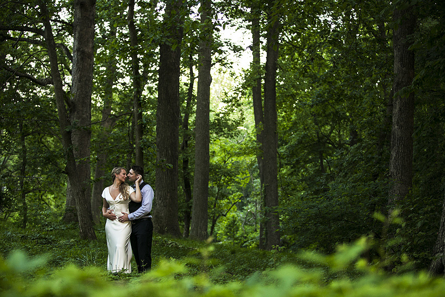 Wedding portraits outside at the Liriodendron Mansion