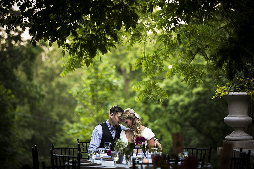 Bride and groom pose at a Liriodendron wedding