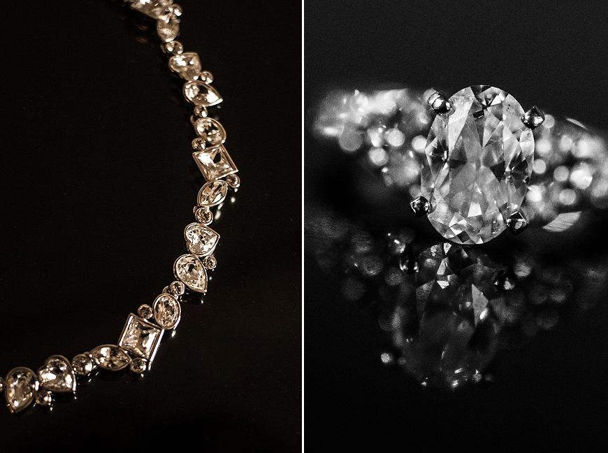Jewelry over black glass at Washington DC wedding