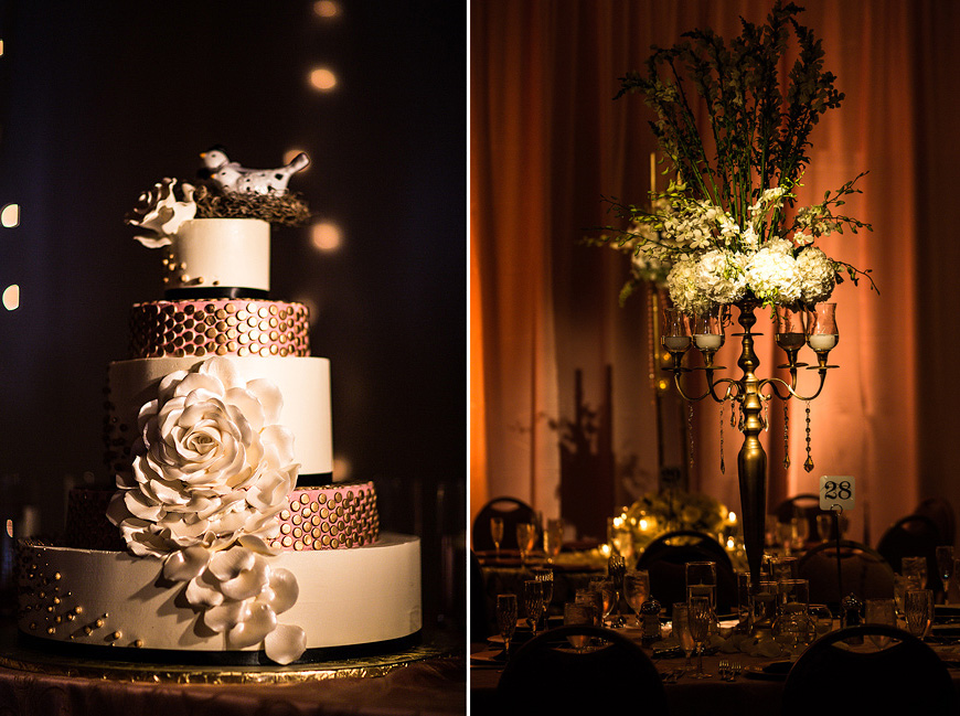 Gorgeous wedding cake and floral arrangements at Washington DC wedding