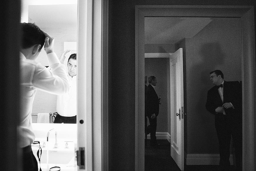 Layers of activity while groom and family gets ready for wedding